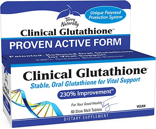 Terry Naturally Clinical Glutathione - 300 mg L-Glutathione - Stable Glutathione Supplement, Antioxidant - 60 Slow-Melt Tablets (30 Servings)