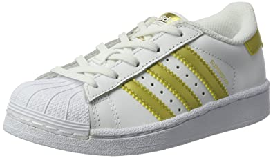 Adidas Originals Superstar, Baskets Basses Enfants Unisexe, Blanc (Ftwr White/Gold Metallic