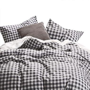 Wake In Cloud - Checker Comforter Set, Gray Grey Buffalo Check Plaid Geometric Modern Pattern Printed, 100% Cotton Fabric with Soft Microfiber Inner Fill Bedding (3pcs, King Size)