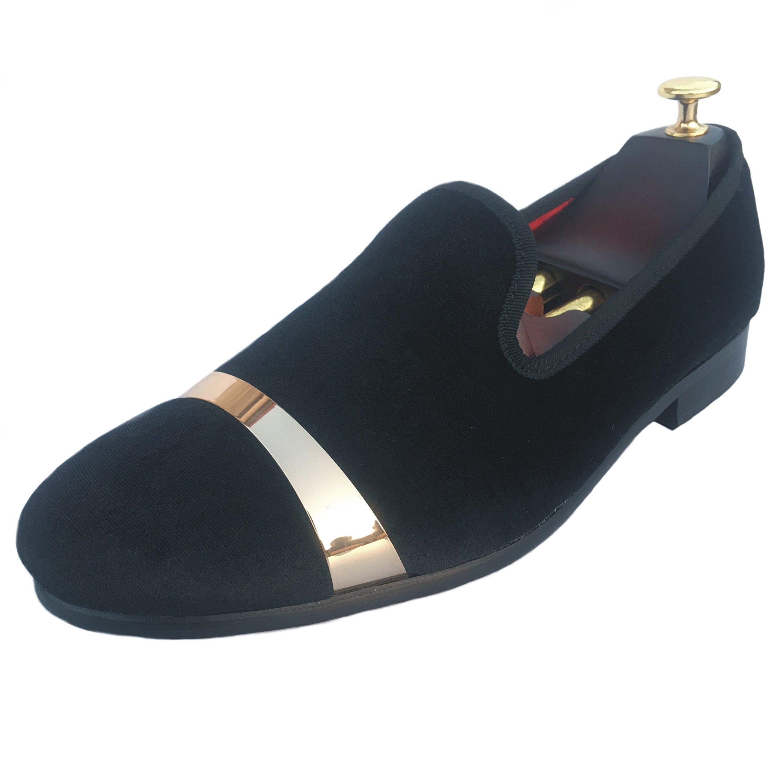 Justar Men's Velvet Loafers Dress Shoes Slip-on Wedding Slippers Flats Gold Buckle (12 D(M) US, Black)