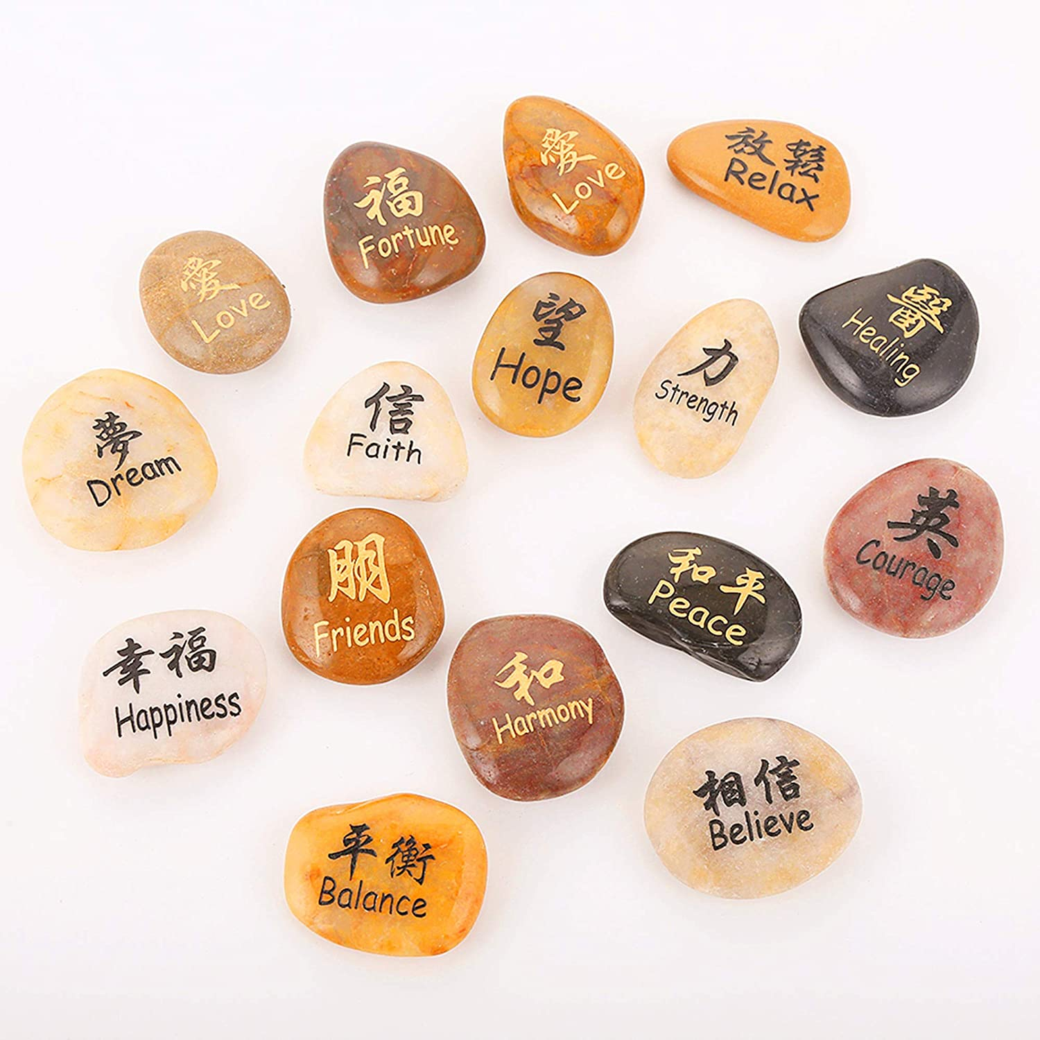 ROCKIMPACT 16PCS Kanji Symbol Engraved Stones Japanese Chinese Han Hanja Characters Feng Shui Zen Stone Polished Natural Beach Pebble (Set of 16, Super Value Variety Pack)