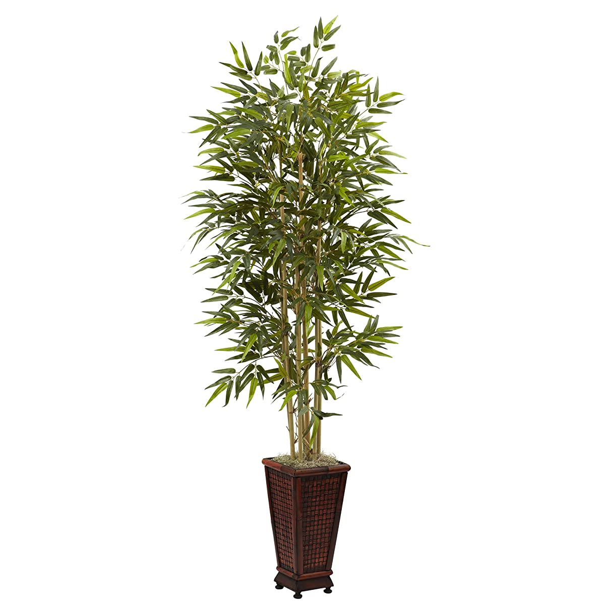 Nearly Natural 5922 6-Feet Bamboo Tree with Decorative Planter, Green