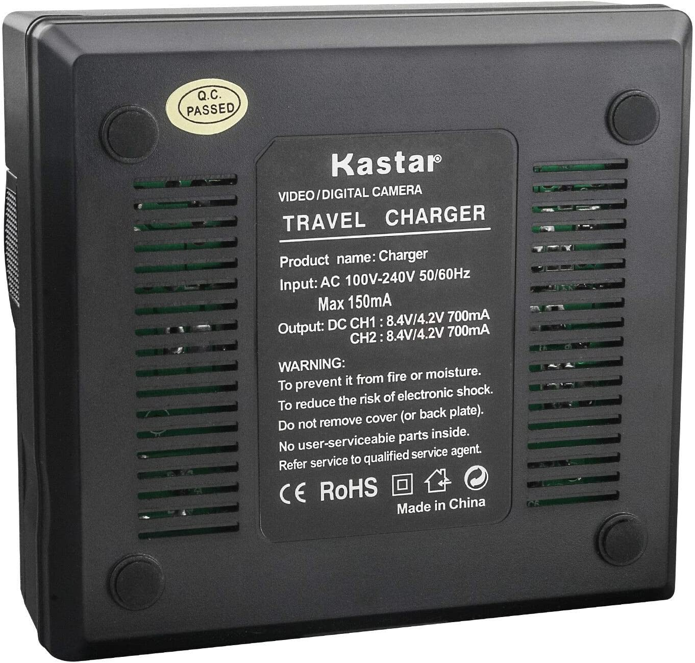 Kastar AC Rapid Dual Charger Compatible with Canon BP-970 BP-970G BP-975 BP-945 BP-950 BP-950G BP-955 ES50 ES55 ES60 ES65 ES75 ES300V ES410V UC-V300 UC-X1 UC-X1Hi V50Hi V60Hi V65Hi XM1 XM2 XV1 XV2