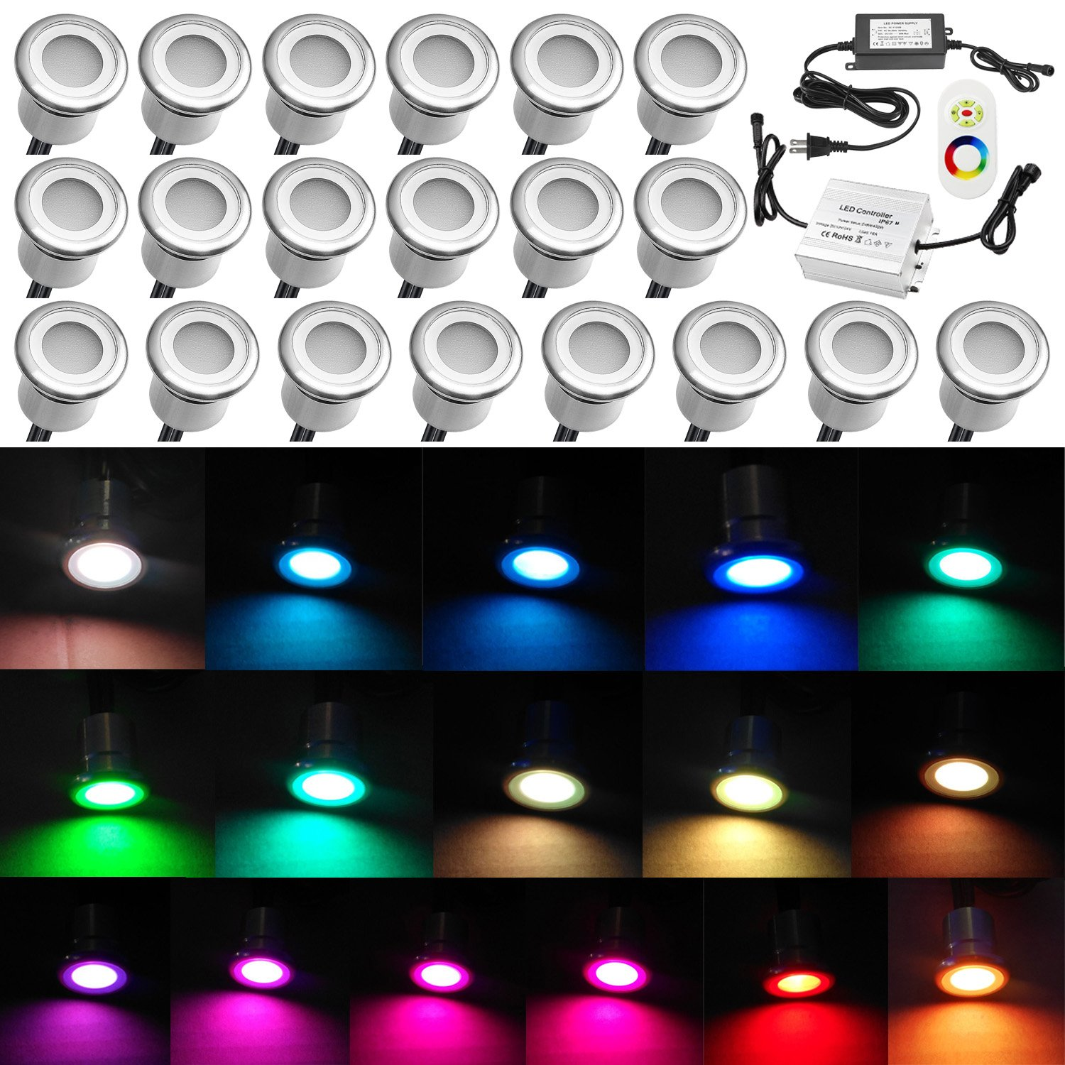 Low Voltage Deck Lighting, QACA 20pcs 0.3W~0.6W Multi-Color RGB LED Deck Lights Kit 1-1/10'' Stainless Steel Recessed Wood Outdoor Yard Garden Decoration Lamp Patio Stairs Landscape Step Lighting
