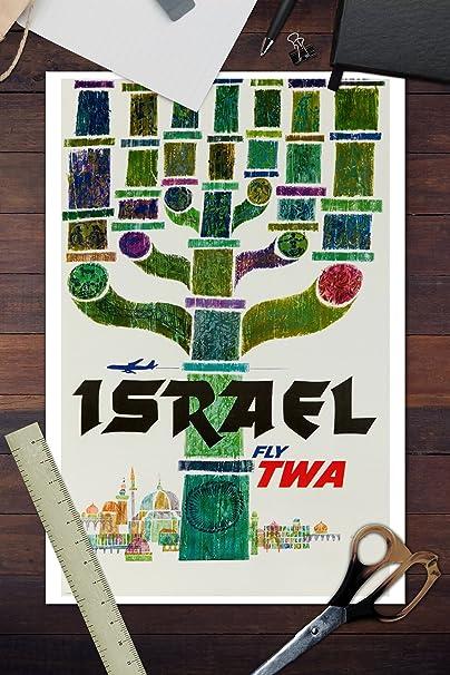 Amazon.com: TWA - Israel Vintage Poster (artist: David Klein ...