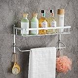 Wall Mounted Aluminum Bathroom Shelves with Towel Bar,Morden Double Deck Towel Rack,Lightweight,16 inch