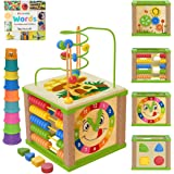 TOYVENTIVE Wooden Kids Baby Activity Cube - Boys Gift Set | One 1, 2 Year Old Boy Gifts Toys | Developmental Toddler Educatio