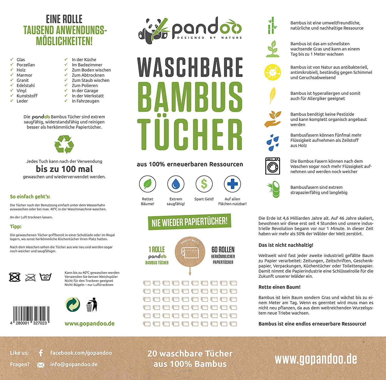 Pandoo 100 Bambus Kuchenrolle Waschbare Haushaltstucher