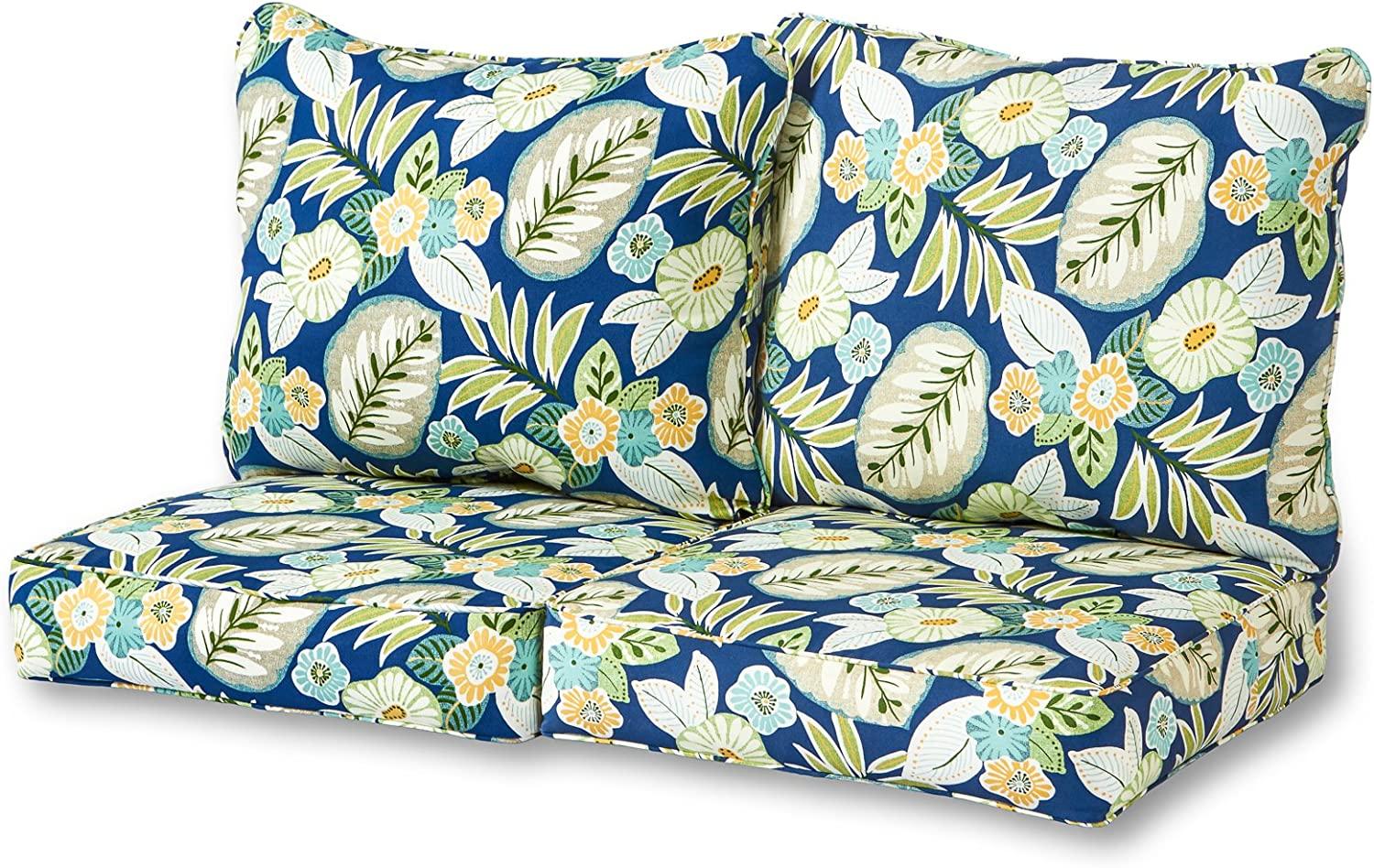 Greendale Home Fashions Deep Seat Loveseat Cushion Set in Marlow Blue Floral