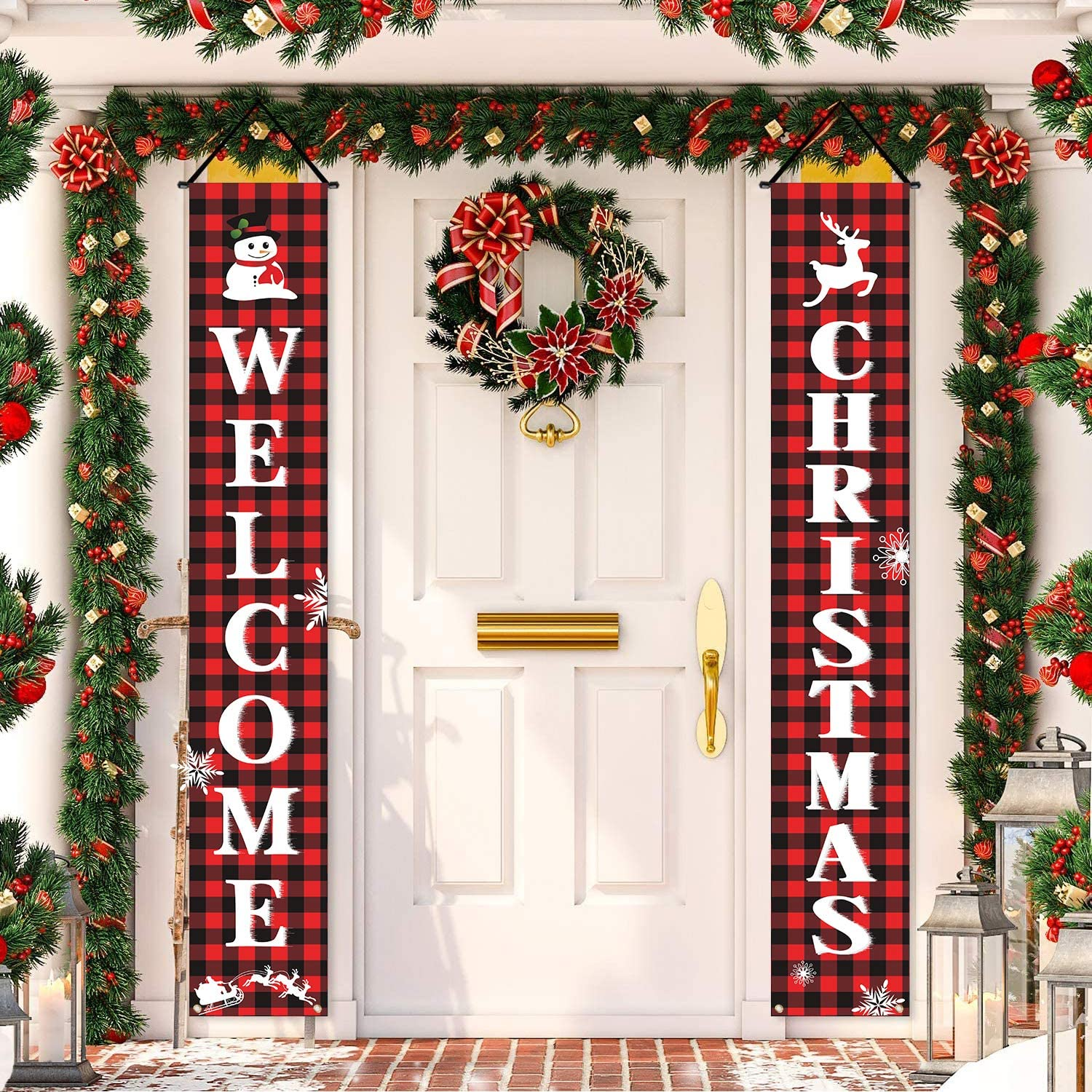 Christmas Porch Sign Outdoor Winter Decorations Welcome Porch Banner Xmas Hanging Decorations Holiday Party Door Hanging Flag Snowman Sled Snowflake Elk Merry Christmas Decor for Home Indoor Yard