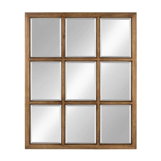 Kate and Laurel Hogan 9 Windowpane Wood Wall Mirror, 26x32, Brown