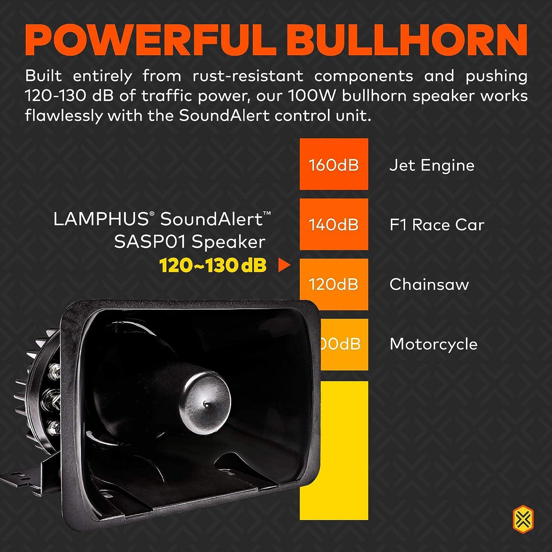 LAMPHUS SoundAlert 120-130dB Bull Horn 100W Emergency Police Siren Speaker