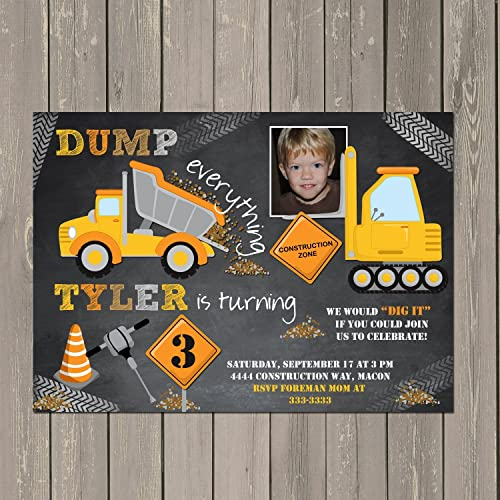amazon com construction dump truck chalkboard look boys birthday