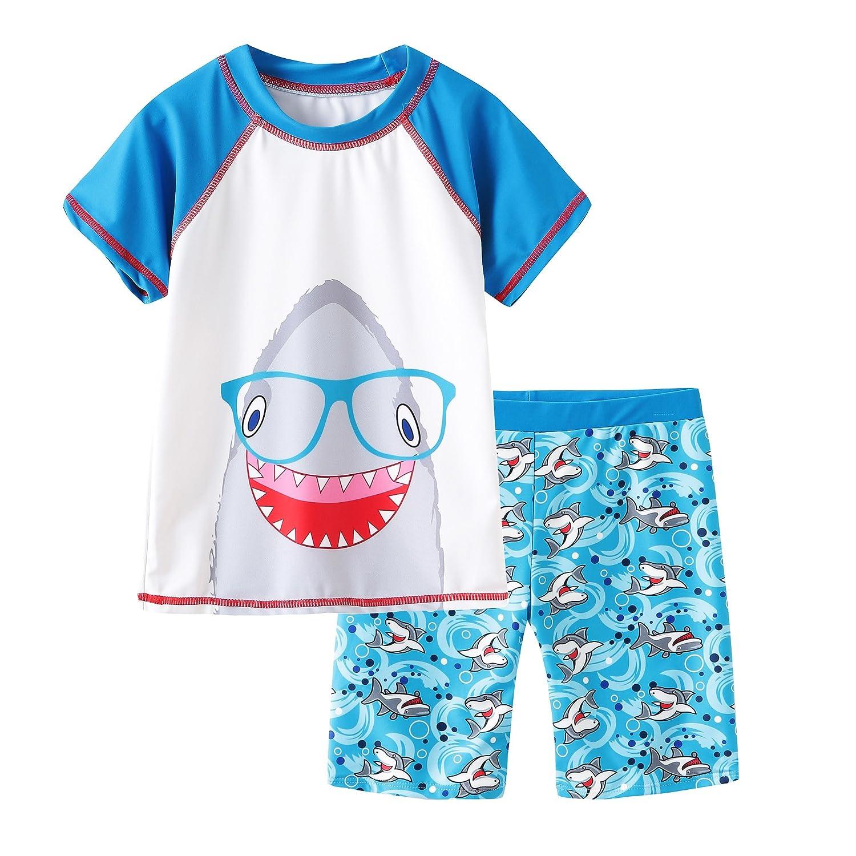 Grandwish Baby Boys' Shark Swimsuit Short Sleeve Rashguard Set 12M-5T AMZCC085CA