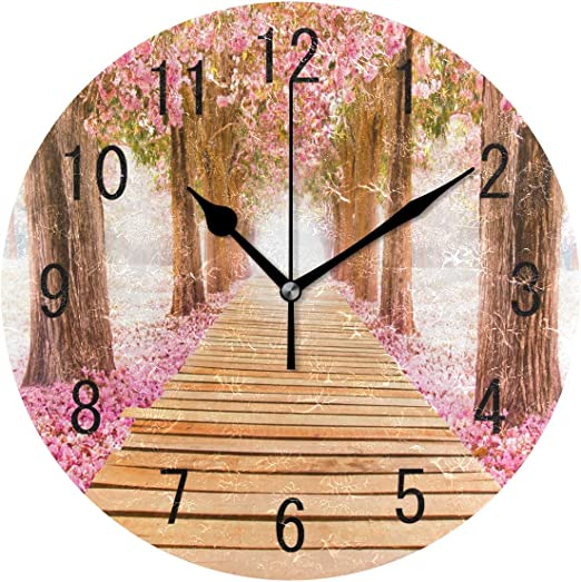 Beautiful Pink Blossom Flowers Spring Round Wall Clock For Home Office Decor