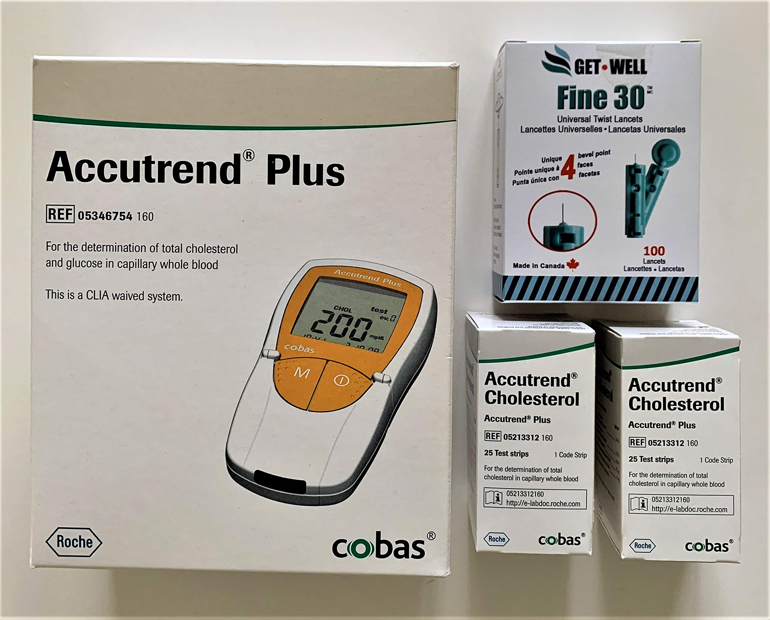 GET•WELL Fine 30g Universal Twist Lancets 100 Ct. - Made in Canada ! ACCUTREND Plus Meter REF 05346754160, 50 ACCUTREND Cholestrol Test Strips, Carrying Case & Lancing Device by Get Well