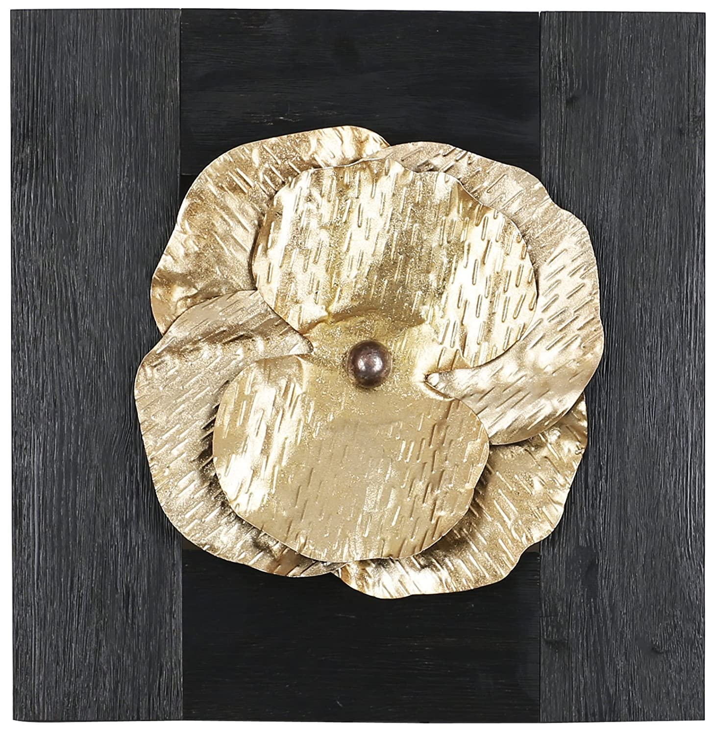 ArtMaison.ca 18.5-Inch by 17.75-Inch Mixed Media Metal Art Décor, Sam O, Gold Metal Floral HobbitHoleCo N2479