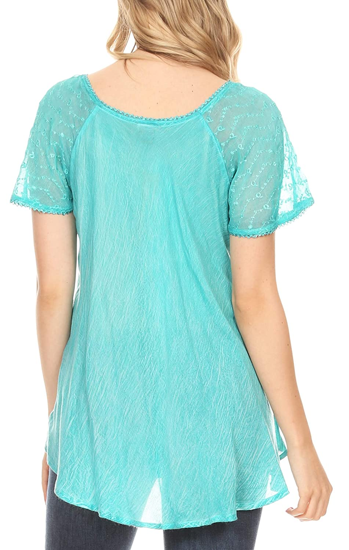 Sakkas Marzia kvinnor lös passform kort ärm ledig batik blus topp tunika Teal