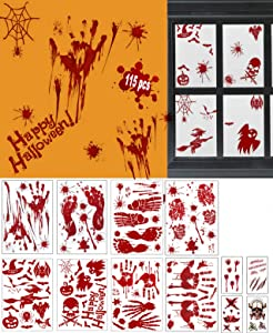 Bloody Wall Stickers Halloween Decorations - 115pcs Halloween Bloody Stickers, 8 Sheets Spooky Halloween Decor with Tattoo Stickers, Horror Window Floor Clings for Halloween Party Decorations