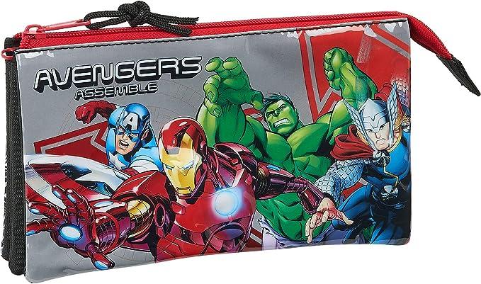 safta 812079744 Estuche portatodo Triple Escolar Avengers, Multicolor: Amazon.es: Equipaje