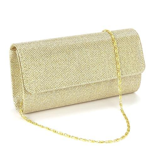Anladia - Cartera de mano con asa para mujer dorado dorado: Amazon.es: Libros