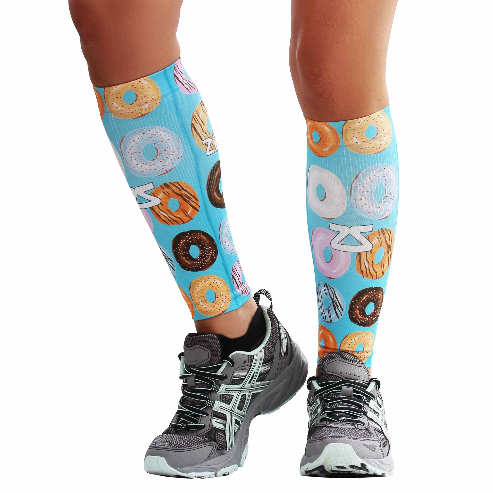 Zensah Compression Leg Sleeves for Running, Donuts, X-Small/Small