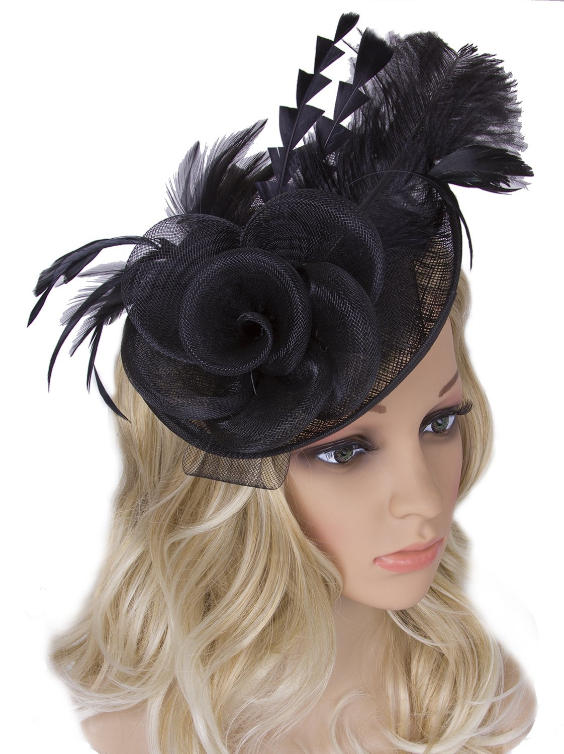 Vijiv Women Vintage Derby Fascinator Hat Pillbox Headband Feather Cocktail Tea Party,Black,One Size
