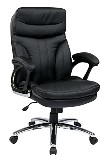 Amazoncom Office Star Padded Faux Leather Seat and High Back