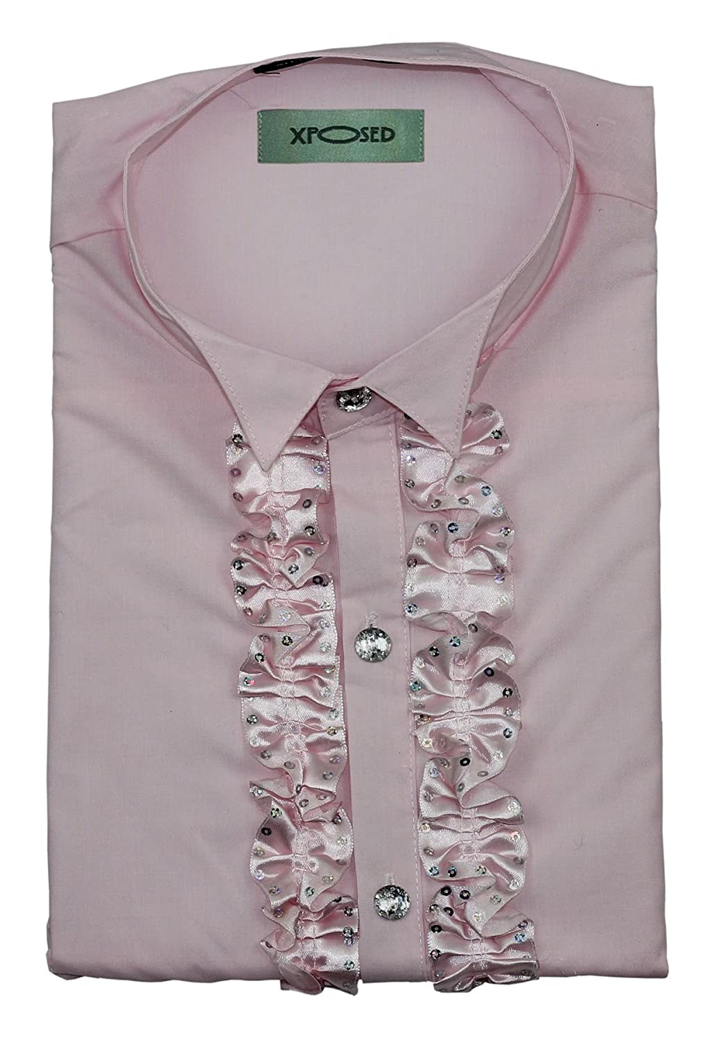 Mens Slim Fit Pink Satin Ruffle Frill 60s Disco Wing Tip Collar Party Shirt