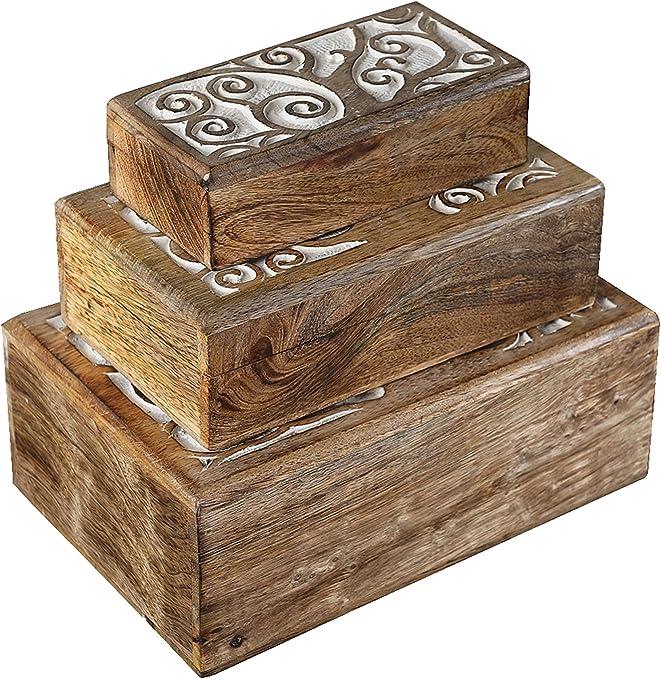 Artesia - Caja de Madera Tallada a Mano con diseño de Flores y ...