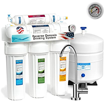 Express Water 5 Stage Under Sink Reverse Osmosis Filtration System 50 GPD  RO Membrane Filter Modern