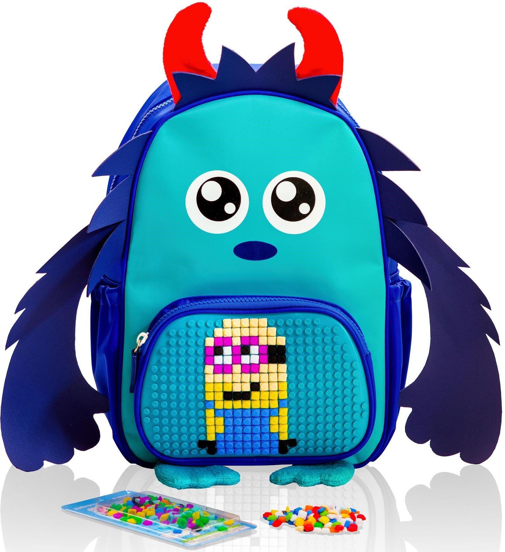 KIDS Backpack Blue Monster Customizable Pixel Art Front Pocket ...