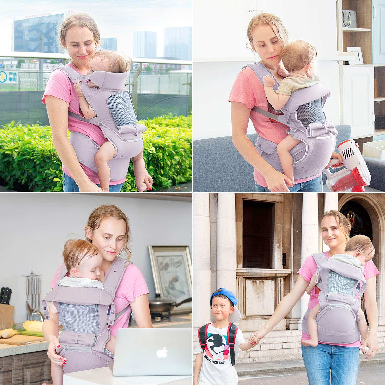 Newborn to Toddlers Carrier with Soft Breathable Air Mesh All Positions Baby Carrier All Adjustable Buckles Infant Baby Wrap Carrier with Stool Baby Hip Seat Ergonomic Carrier Light Grey,1 Pack