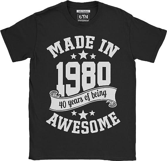 6TN Mujer Camiseta en espa/ñol Hecha en 1980 40 a/ños de ser Impresionante