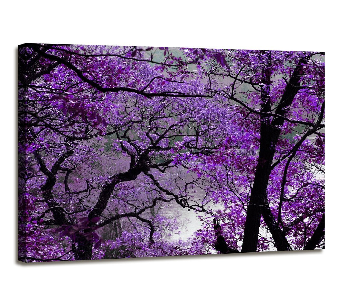 Purple20inx40in youkuart Canvas Prints Purple Tree Framed Canvas Wall Art for Home Decor Perfect Wall Purple Scenery Decorations for Living Room Bedroom Office Each Panel