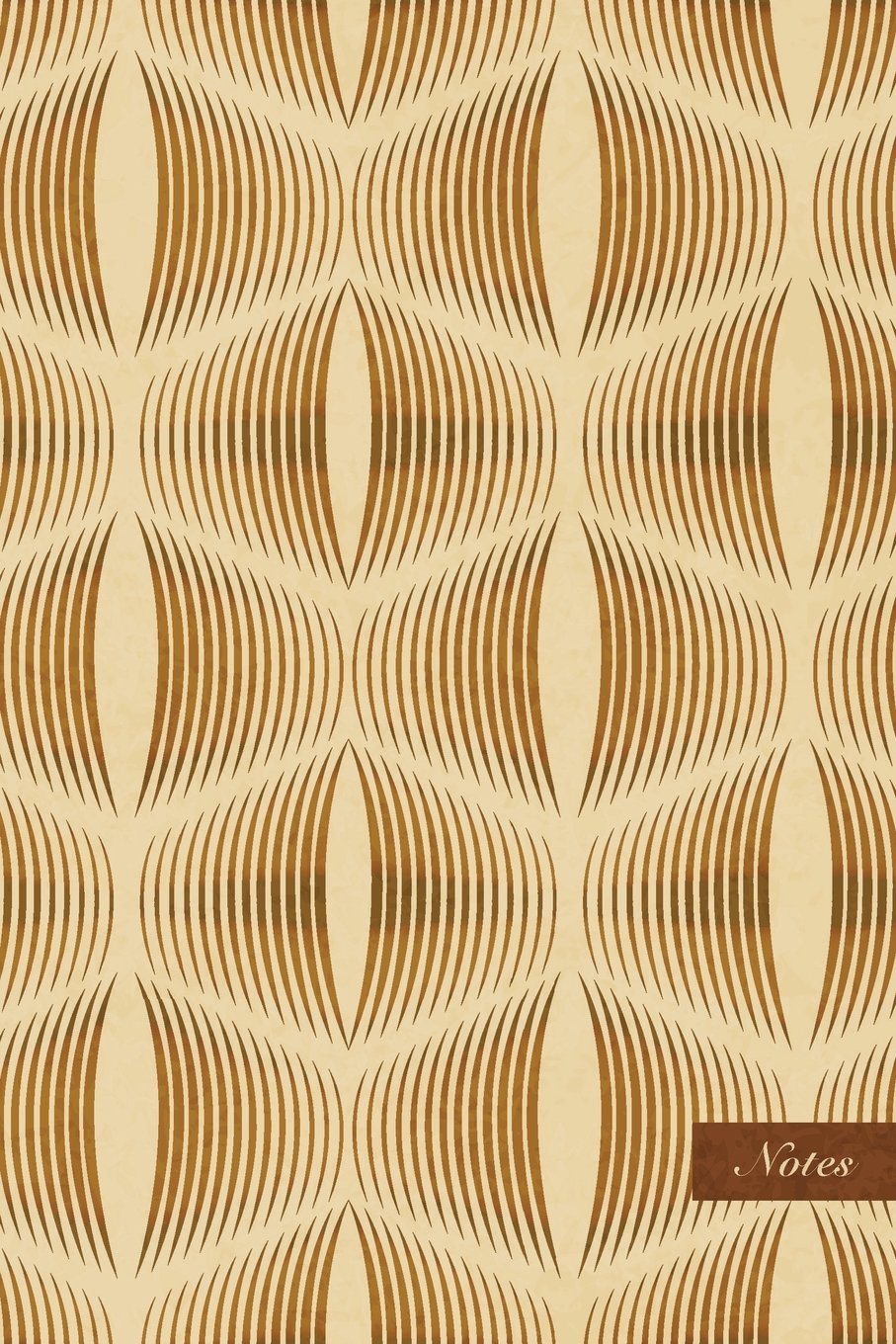 """Notes: 6""""x9"""" Ruled Lined Notebook - Curve Wave Cross Line - Retro Brown Worn Out Vintage Seamless Pattern Cover. Matte Softcover And Cream Interior Papers. pdf epub"""