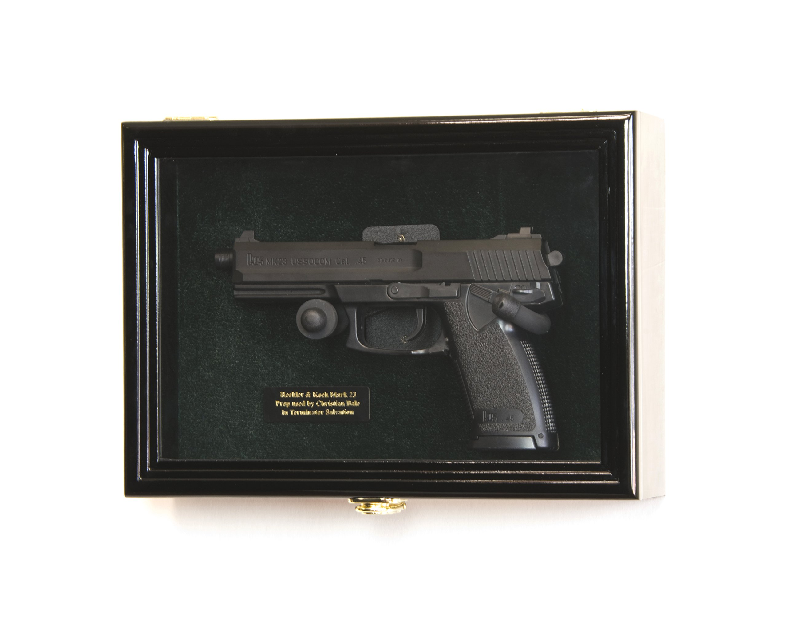 Single Pistol Display Case Wall Mount Solid Hardwood Cabinet (Black Finish, Green Felt Background) by sfDisplay.com, Factory Direct Display Cases