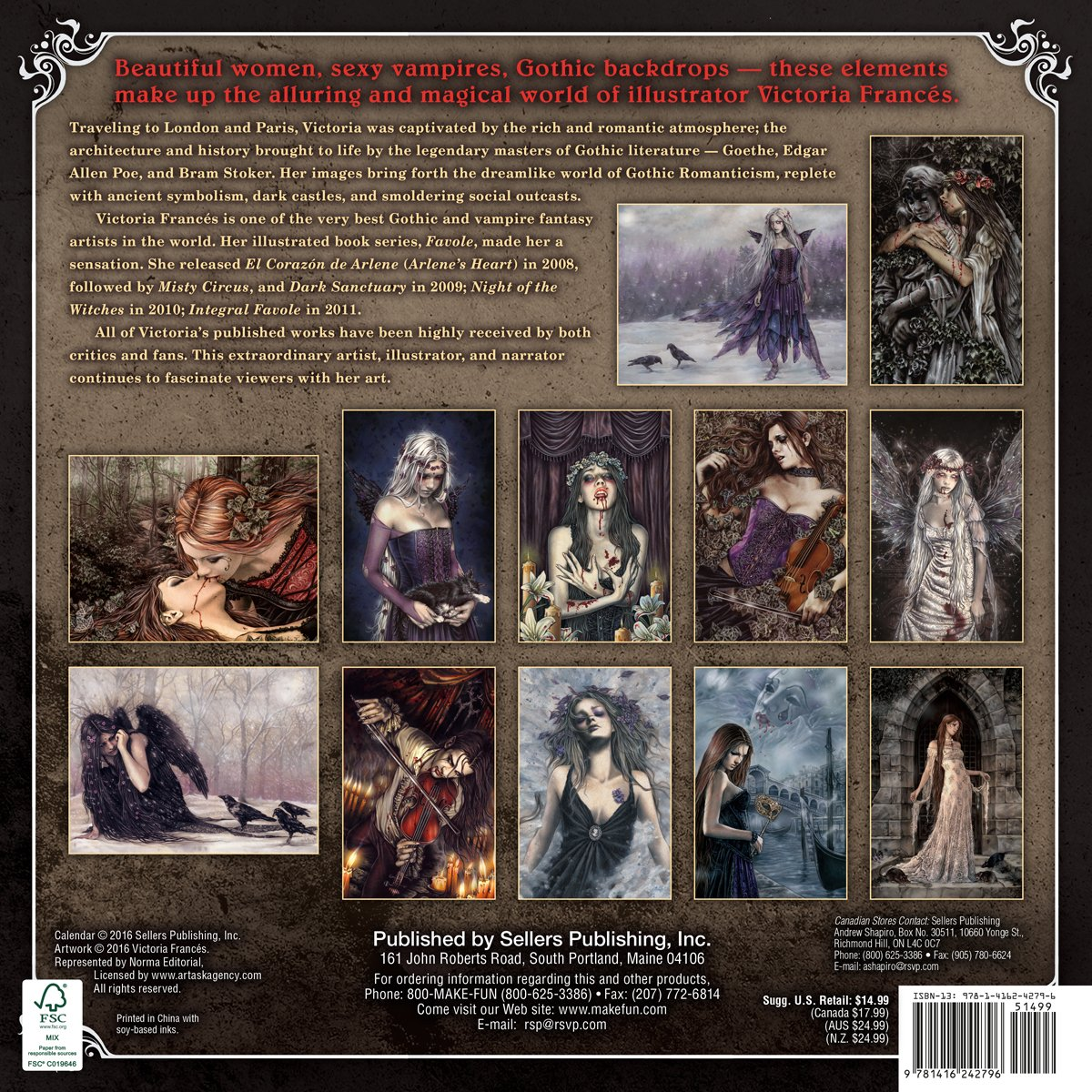 the gothic art of victoria francs 2017 wall calendar victoria francs 9781416242796 amazoncom books