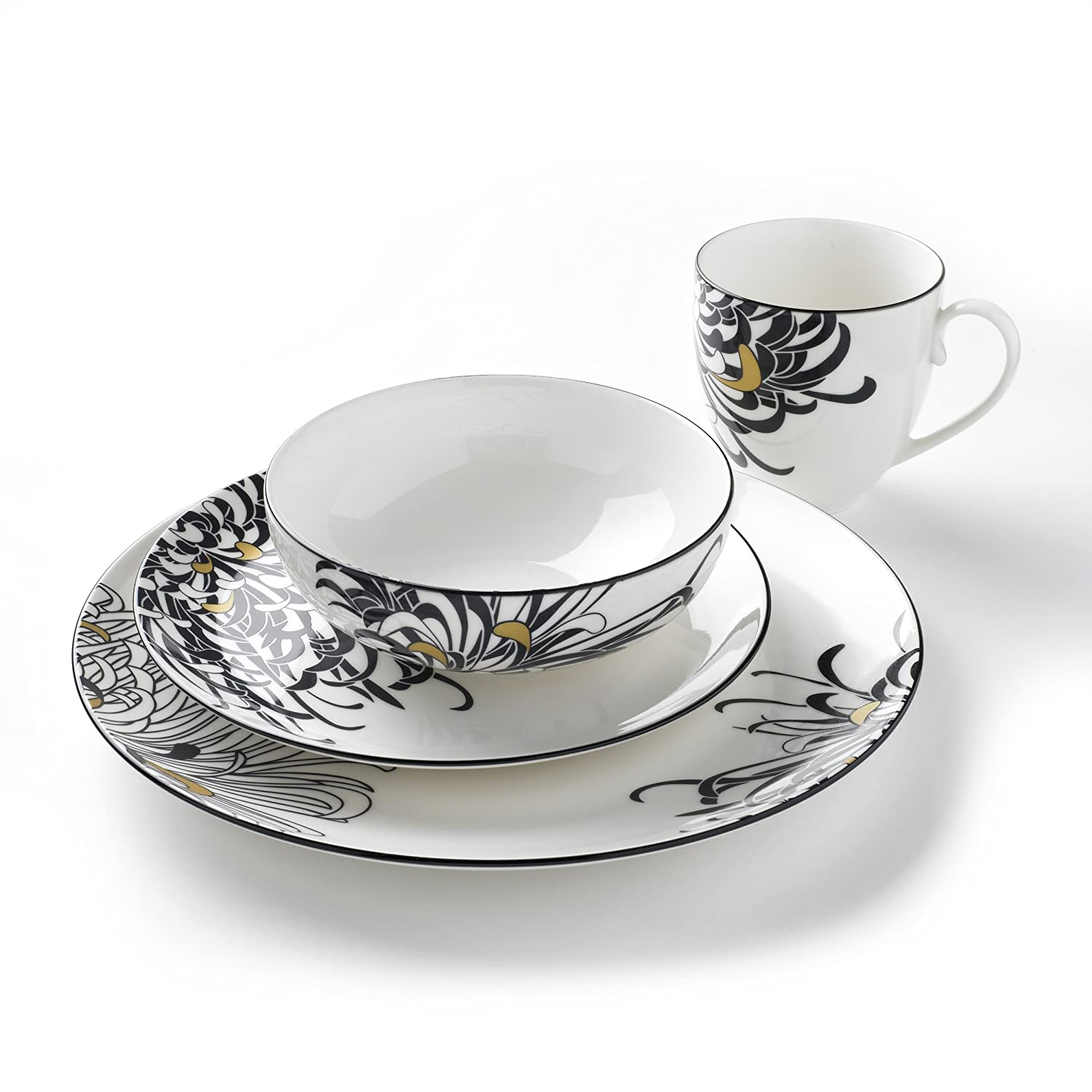 Denby Monsoon Chrysanthemum Dinnerware Boxed Set 16-Piece Amazon.co.uk Kitchen u0026 Home  sc 1 st  Amazon UK & Denby Monsoon Chrysanthemum Dinnerware Boxed Set 16-Piece: Amazon ...