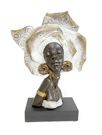 DINY Home Collections African Woman Head Figurine 13 Sculpture in Beautiful Traditional Clothing