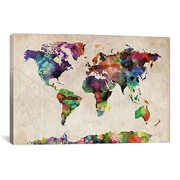 Amazon icanvasart world map urban watercolor ii by michael icanvasart world map urban watercolor ii by michael thompsett canvas art print 40 by 26 gumiabroncs Choice Image