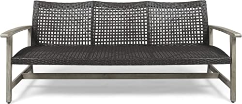 Great Deal Furniture Marcia Outdoor Wood and Wicker Sofa