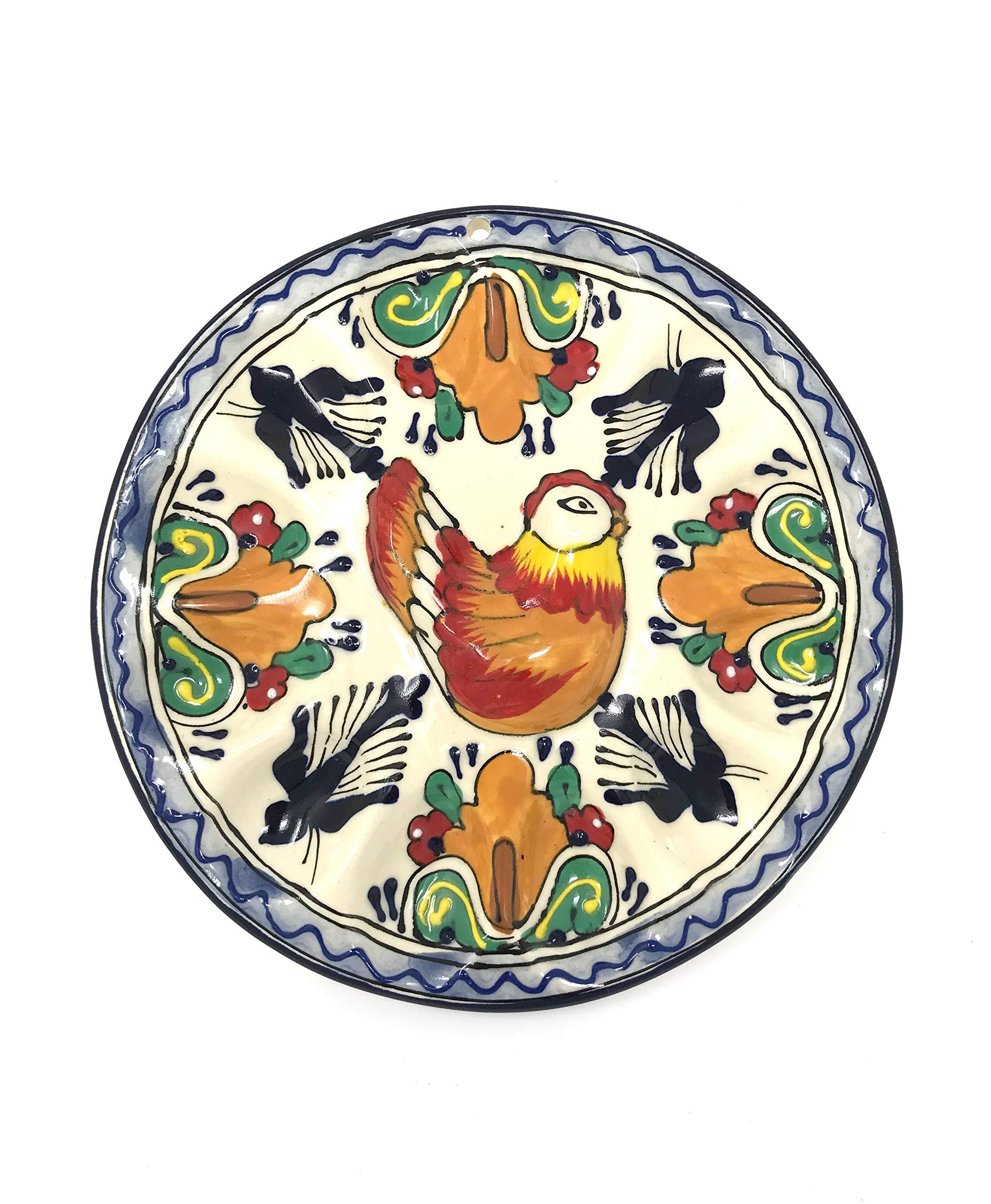 Mexican Talavera Round Deviled Egg Tray Platter