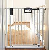 Geuther - Türschutzgitter Easylock 4792, für Kinder, Hunde und Katzen, Befestigung ohne Bohren, umbaubar in Treppengitter, Metall, 80,5 - 88,5 cm, weiß/silber