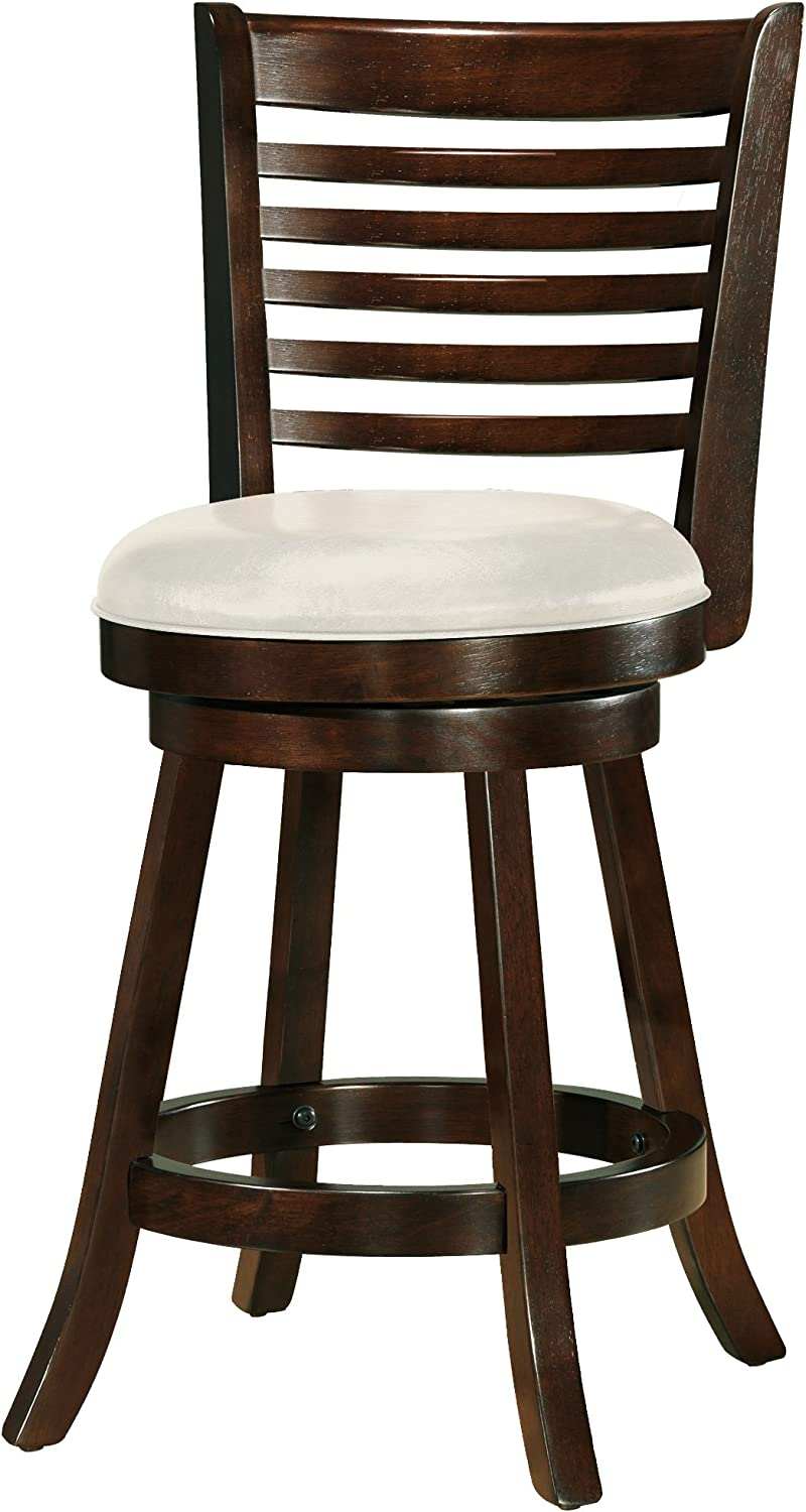 CorLiving Woodgrove Cappuccino Stained Swivel Counter Height Barstool with Leatherette Seat, 24 Seat Height, Set of 2