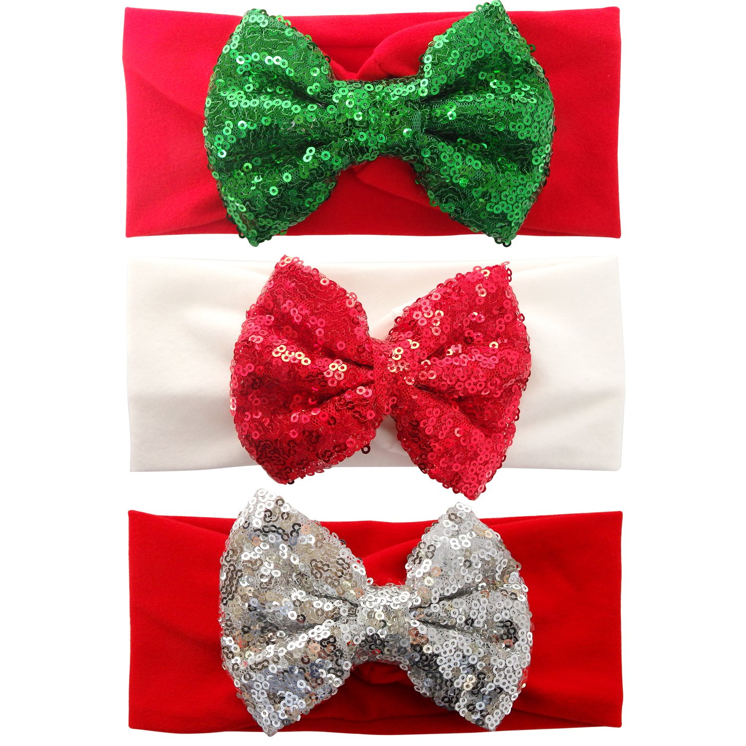 3pcs Christmas Bows Sequin Headwraps Baby Girl Headbands Set Bulk for Photograph Red White RareLove
