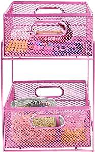 Mind Reader Sliding Metal Baskets, Cabinet Storage Organizer, Home, Office, Kitchen, Bathroom, One Size, Pink 2 Tier Mesh