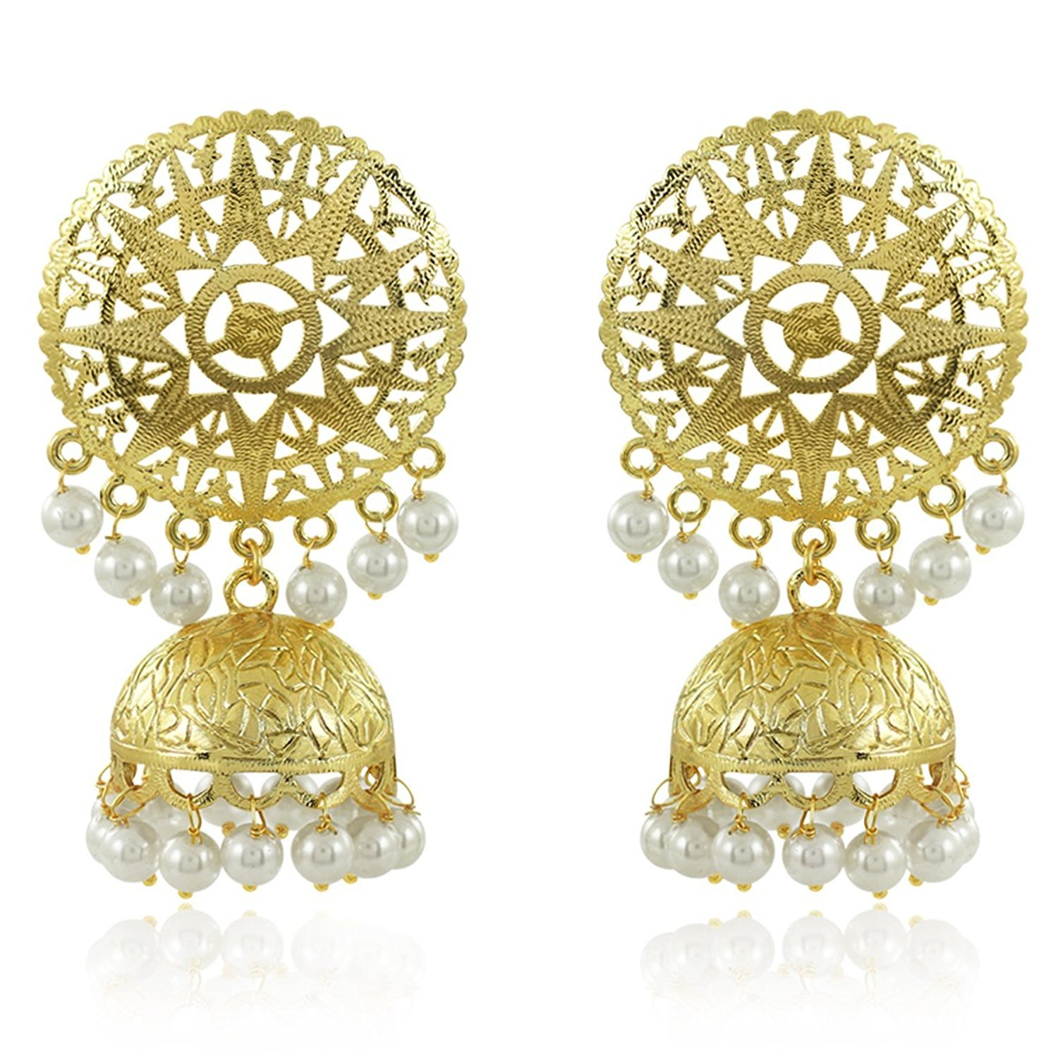 Buy Meenaz Fashion Jewellery Traditional Gold plated Pearl Crystal ...