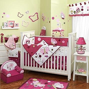 Amazon.com : Raspberry Swirl 6 Piece Baby Crib Bedding Set with ...