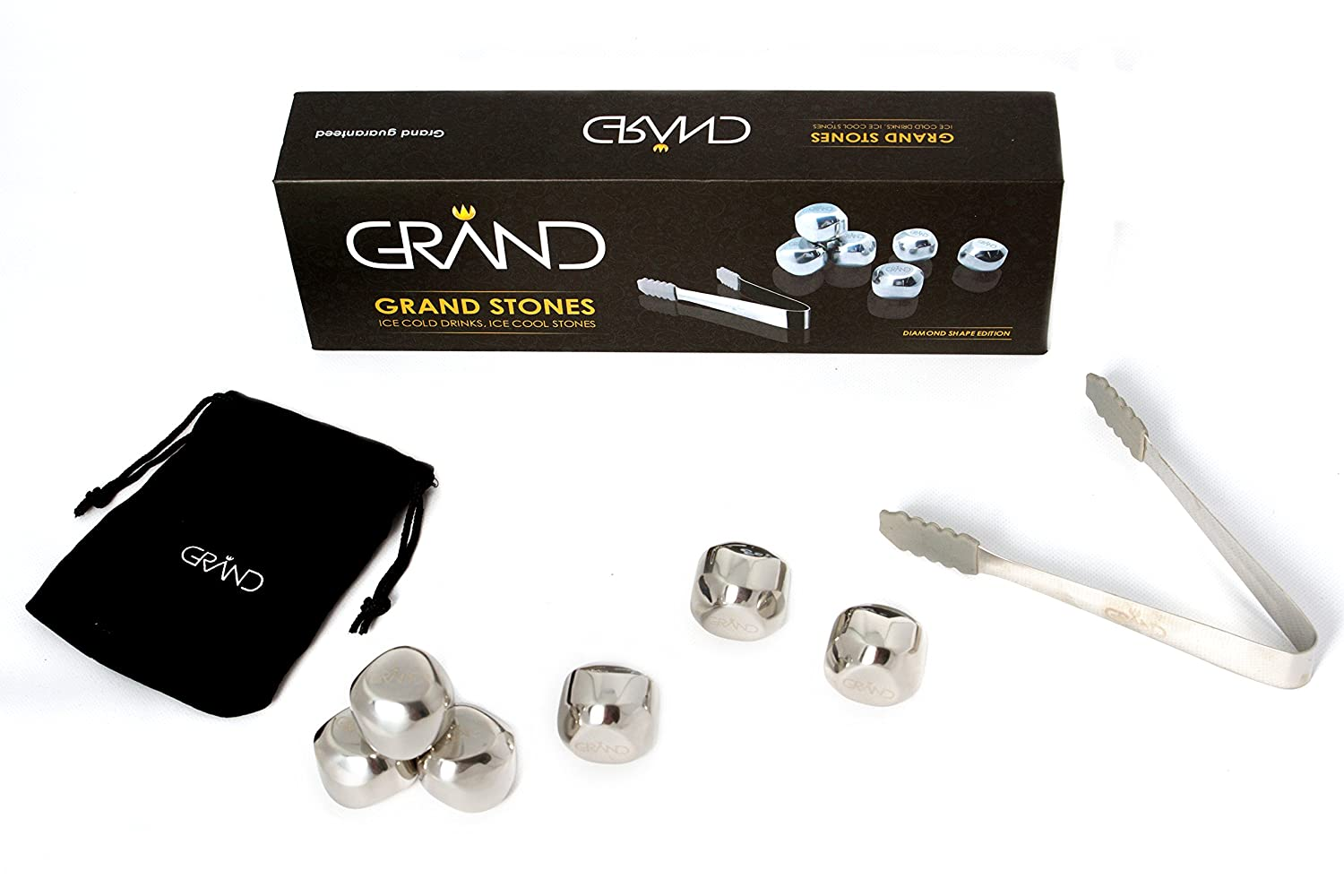 Whisky Stones Gift Set - 6 Reusable Food Grade Stainless Steel Ice ...